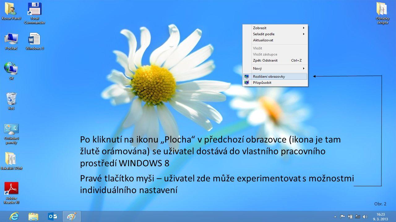 """Pravé tlačítko myši – uživatel zde může experimentovat s možnostmi individuálního nastavení Po kliknutí na ikonu """"Plocha v předchozí obrazovce (ikona je tam žlutě orámována) se uživatel dostává do vlastního pracovního prostředí WINDOWS 8 Obr."""
