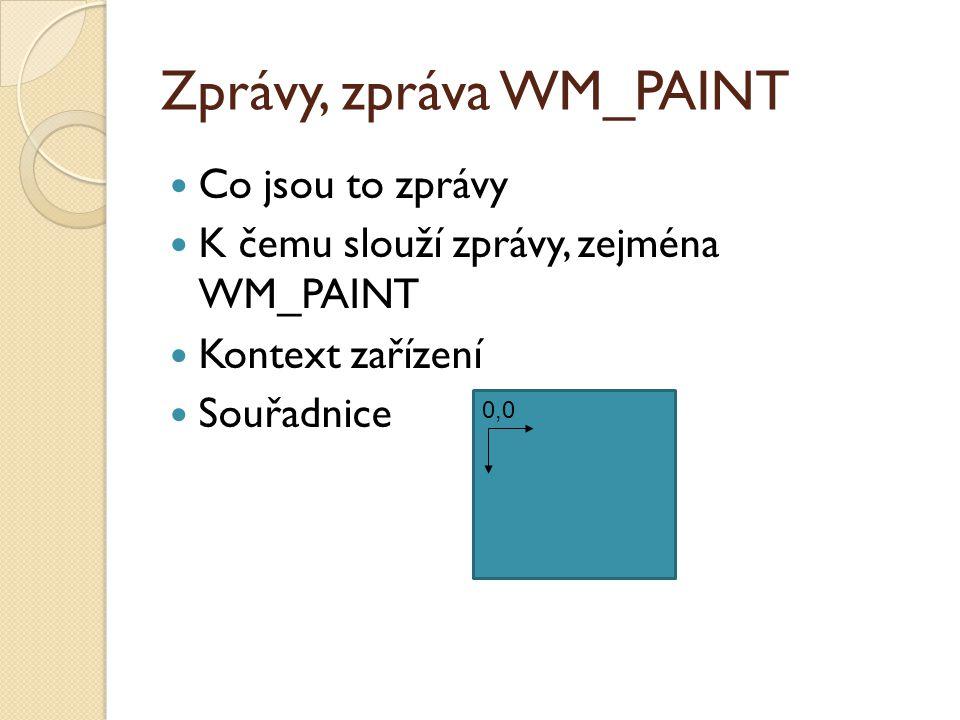 Zprávy, zpráva WM_PAINT Co jsou to zprávy K čemu slouží zprávy, zejména WM_PAINT Kontext zařízení Souřadnice 0,0
