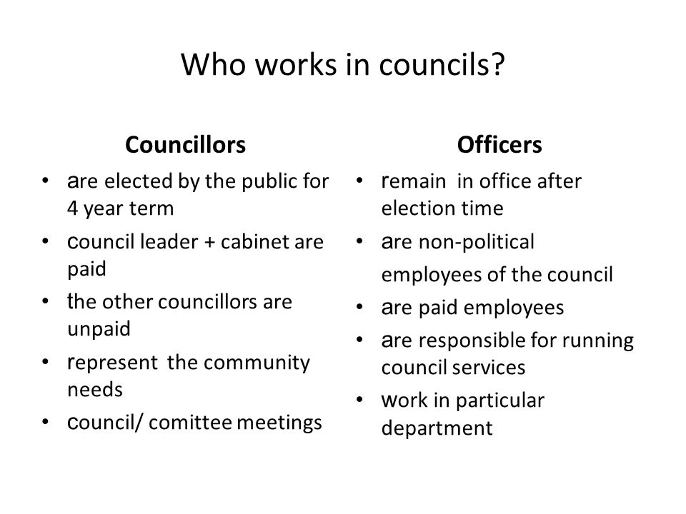 Who works in councils.