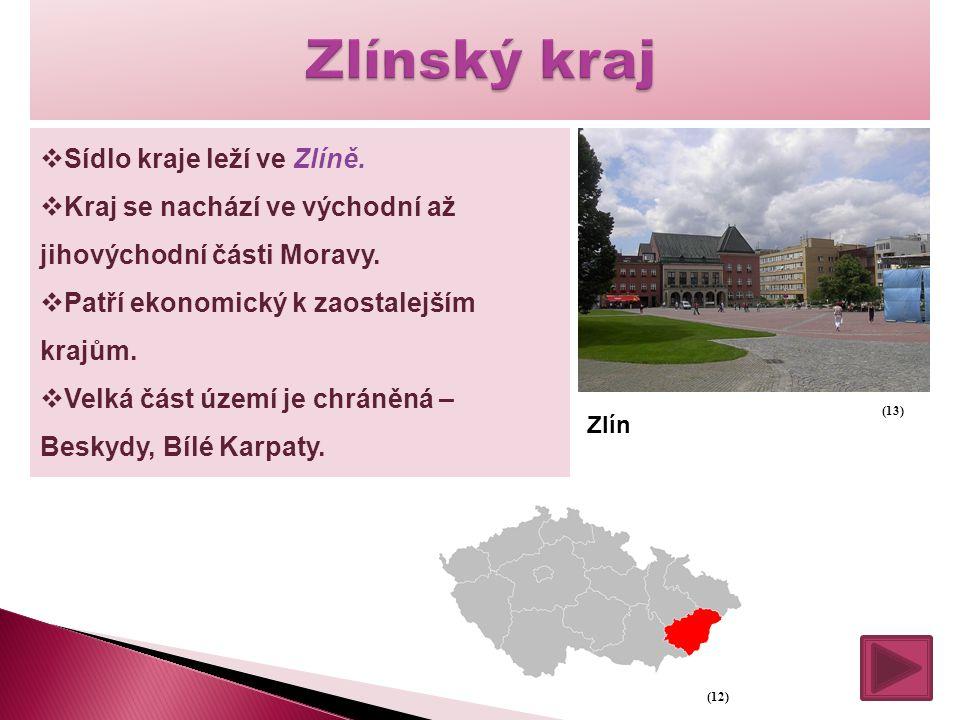  Sídlo kraje leží ve Zlíně.  Kraj se nachází ve východní až jihovýchodní části Moravy.  Patří ekonomický k zaostalejším krajům.  Velká část území