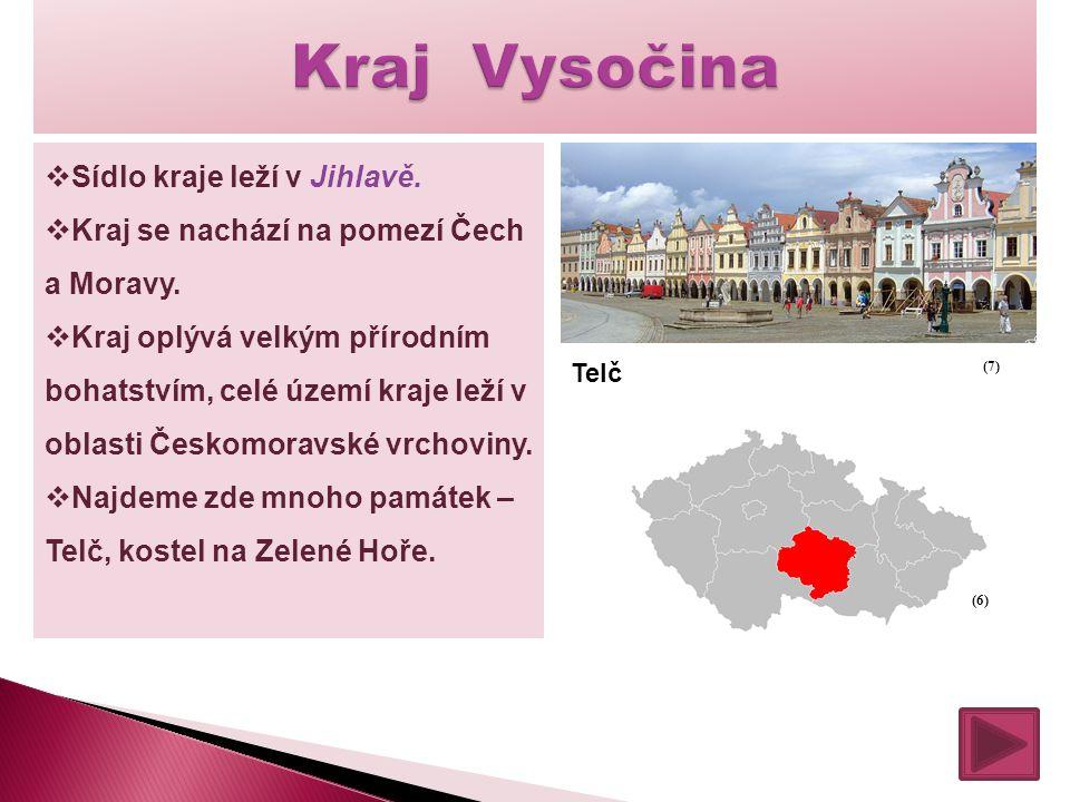  Sídlo kraje leží v Jihlavě.  Kraj se nachází na pomezí Čech a Moravy.  Kraj oplývá velkým přírodním bohatstvím, celé území kraje leží v oblasti Če