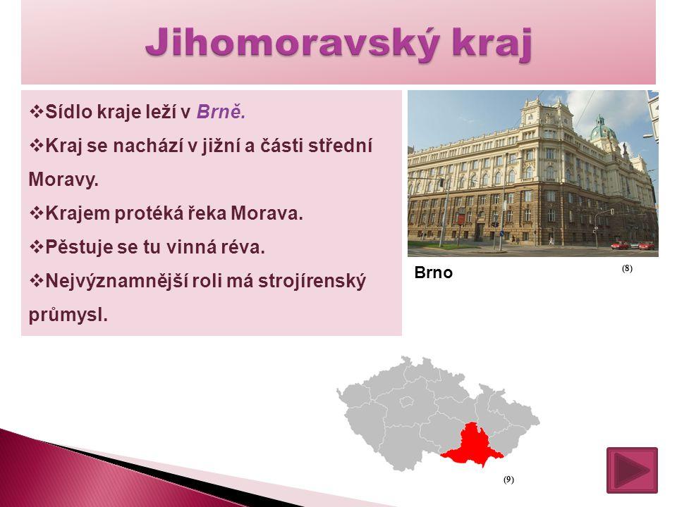  Sídlo kraje leží v Brně.  Kraj se nachází v jižní a části střední Moravy.  Krajem protéká řeka Morava.  Pěstuje se tu vinná réva.  Nejvýznamnějš