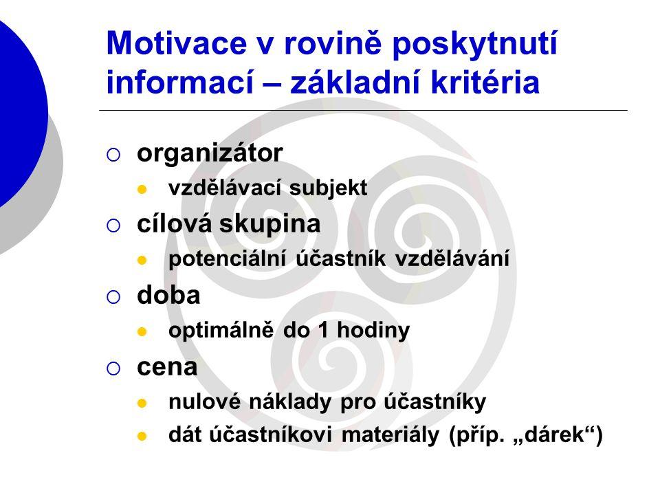Motivace v rovině poskytnutí informací – základní kritéria  organizátor vzdělávací subjekt  cílová skupina potenciální účastník vzdělávání  doba op