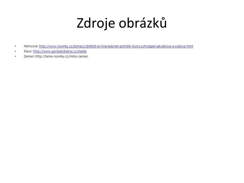 Zdroje obrázků Němcová: http://www.novinky.cz/domaci/164639-on-line-kabinet-pohrbili-tlusty-schwippel-jakubkova-a-zubova.htmlhttp://www.novinky.cz/domaci/164639-on-line-kabinet-pohrbili-tlusty-schwippel-jakubkova-a-zubova.html Klaus: http://www.pardubickykraj.cz/mediahttp://www.pardubickykraj.cz/media Zeman: http://tema.novinky.cz/milos-zeman