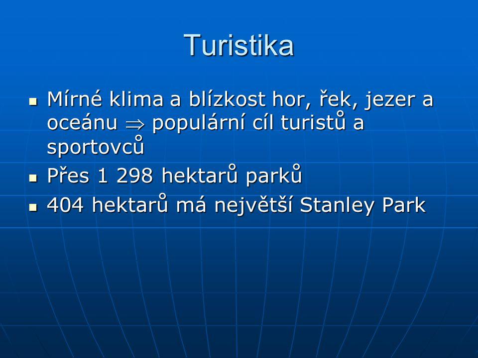 Turistika Mírné klima a blízkost hor, řek, jezer a oceánu  populární cíl turistů a sportovců Mírné klima a blízkost hor, řek, jezer a oceánu  populární cíl turistů a sportovců Přes 1 298 hektarů parků Přes 1 298 hektarů parků 404 hektarů má největší Stanley Park 404 hektarů má největší Stanley Park