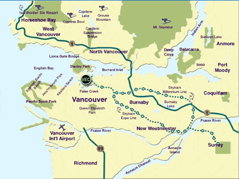 Obecně Třetí nejlidnatější město v Kanadě Třetí nejlidnatější město v Kanadě Obyvatelé: 1 837 970 lidí Obyvatelé: 1 837 970 lidí Zeměpisná šířka města : 49° SŠ Zeměpisná šířka města : 49° SŠ Zeměpisná délka města: 123° ZD Zeměpisná délka města: 123° ZD Nadmořská výška města: 72 m Nadmořská výška města: 72 m Britská Kolumbie Britská Kolumbie