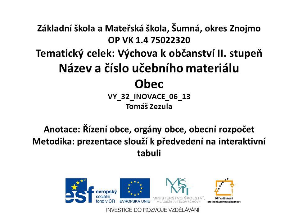 Základní škola a Mateřská škola, Šumná, okres Znojmo OP VK 1.4 75022320 Tematický celek: Výchova k občanství II.
