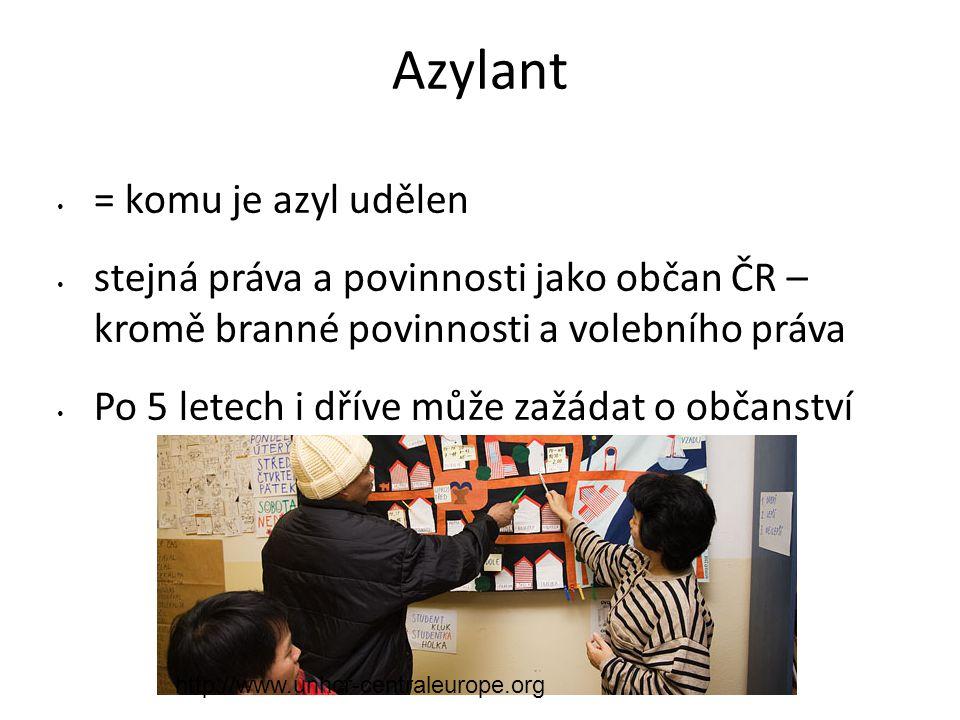 Azylant = komu je azyl udělen stejná práva a povinnosti jako občan ČR – kromě branné povinnosti a volebního práva Po 5 letech i dříve může zažádat o o