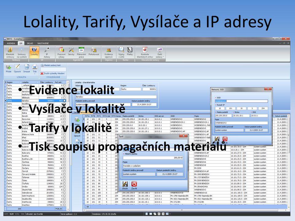 Lolality, Tarify, Vysílače a IP adresy Evidence lokalit Vysílače v lokalitě Tarify v lokalitě Tisk soupisu propagačních materiálů