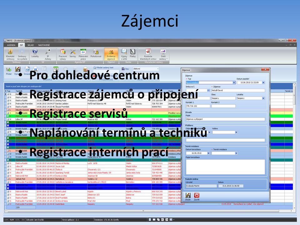 Zájemci Pro dohledové centrum Registrace zájemců o připojení Registrace servisů Naplánování termínů a techniků Registrace interních prací