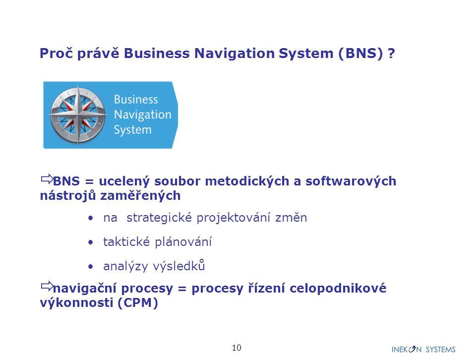 10 Proč právě Business Navigation System (BNS) ?  BNS = ucelený soubor metodických a softwarových nástrojů zaměřených na strategické projektování změ