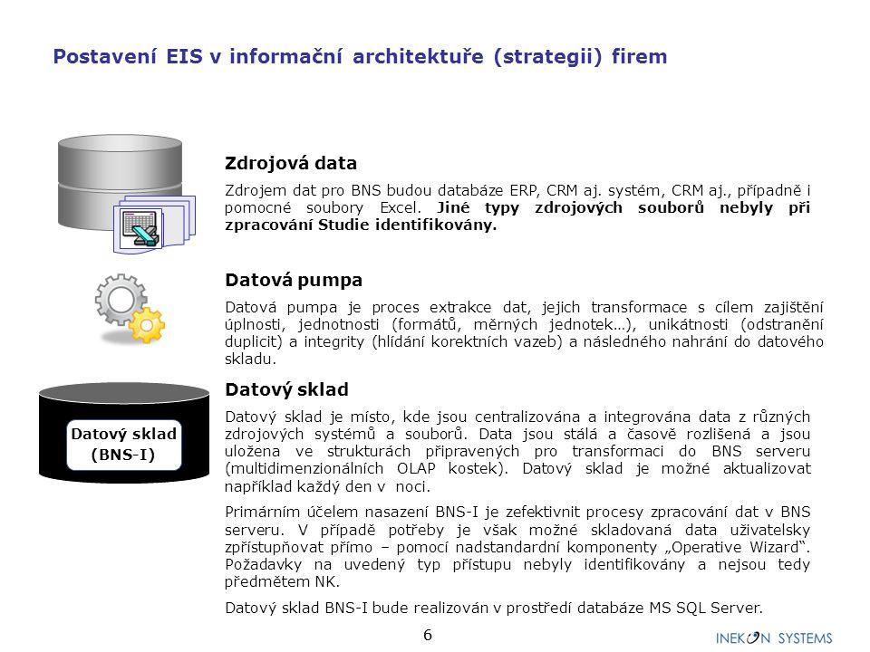 66 Datový sklad Datový sklad je místo, kde jsou centralizována a integrována data z různých zdrojových systémů a souborů. Data jsou stálá a časově roz