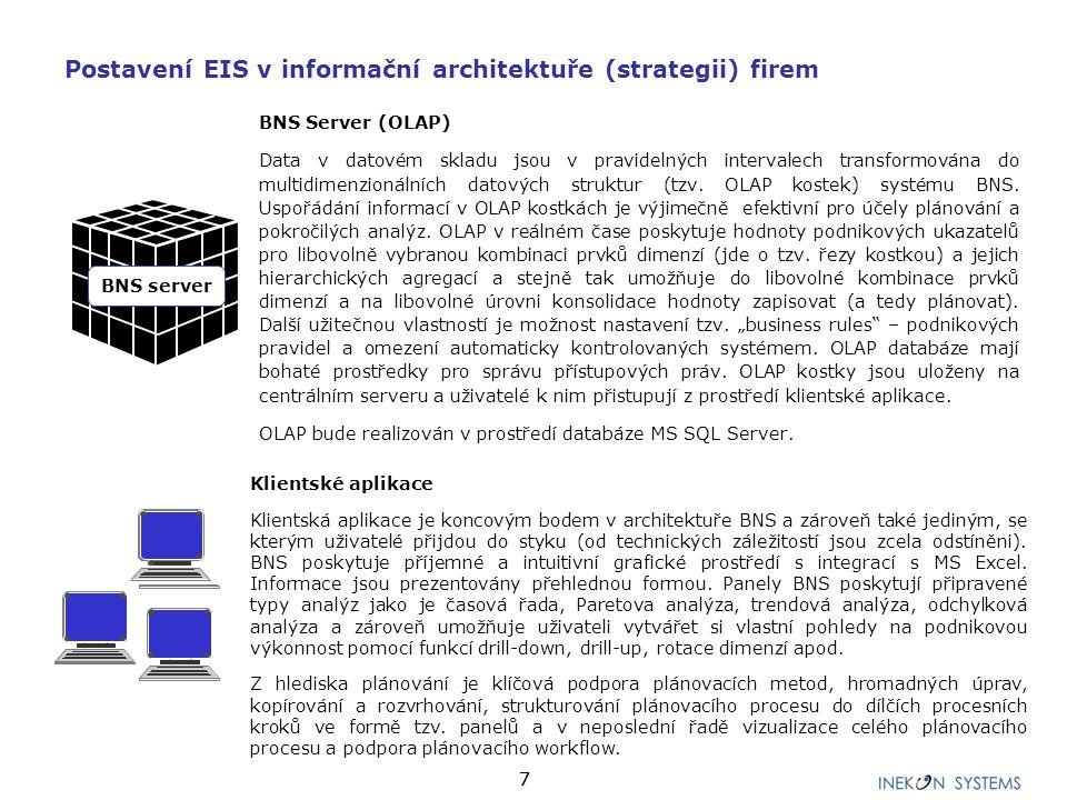 77 BNS Server (OLAP) Data v datovém skladu jsou v pravidelných intervalech transformována do multidimenzionálních datových struktur (tzv. OLAP kostek)
