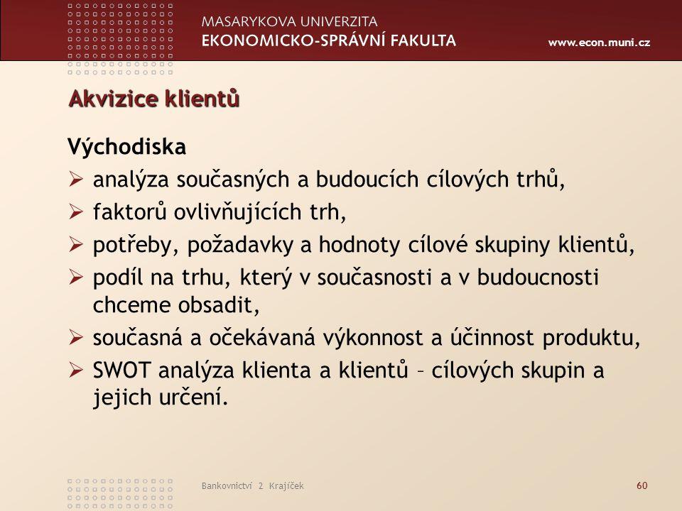 www.econ.muni.cz Bankovnictví 2 Krajíček60 Akvizice klientů Východiska  analýza současných a budoucích cílových trhů,  faktorů ovlivňujících trh, 