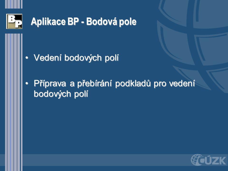 Aplikace BP - Bodová pole Vedení bodových políVedení bodových polí Příprava a přebírání podkladů pro vedení bodových políPříprava a přebírání podkladů