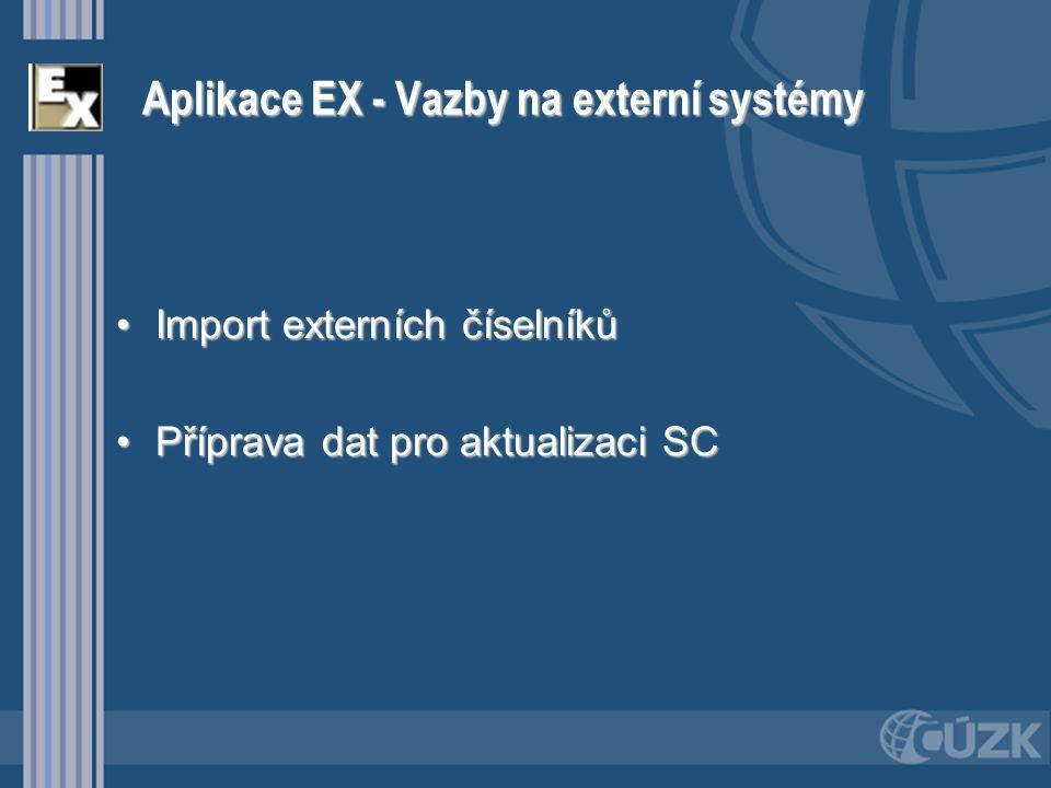 Aplikace EX - Vazby na externí systémy Import externích číselníkůImport externích číselníků Příprava dat pro aktualizaci SCPříprava dat pro aktualizac