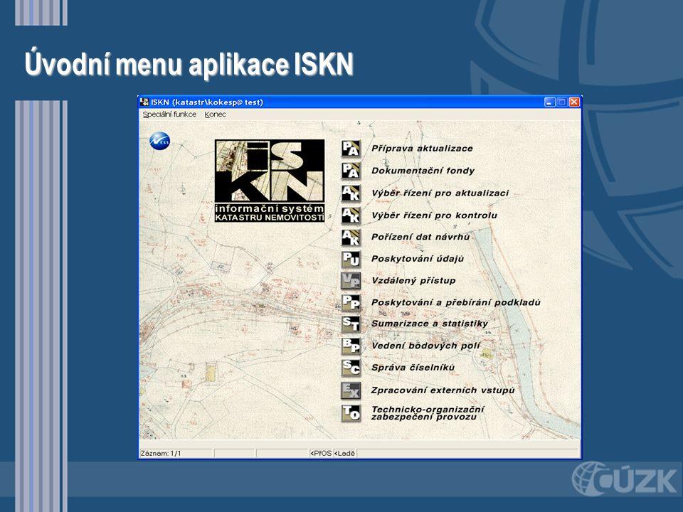 Úvodní menu aplikace ISKN