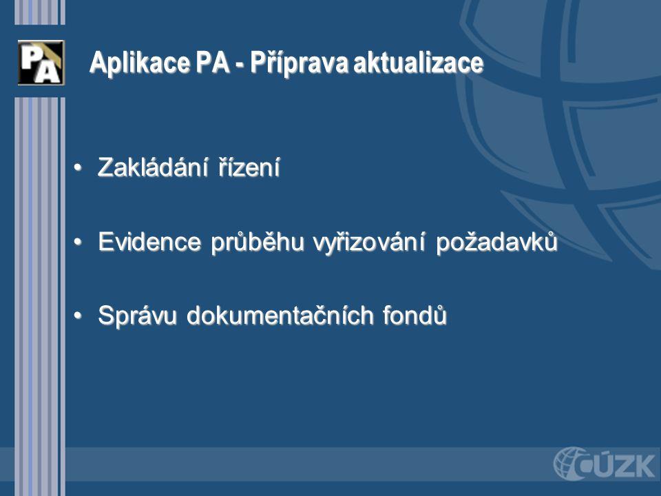 Aplikace PA - Příprava aktualizace Zakládání řízeníZakládání řízení Evidence průběhu vyřizování požadavkůEvidence průběhu vyřizování požadavků Správu