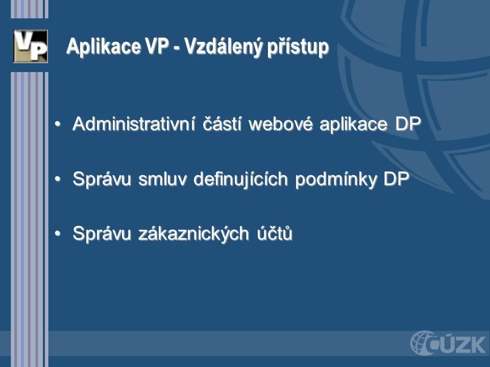 Aplikace VP - Vzdálený přístup Administrativní částí webové aplikace DPAdministrativní částí webové aplikace DP Správu smluv definujících podmínky DPS