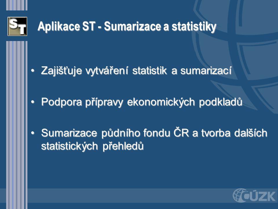 Aplikace ST - Sumarizace a statistiky Zajišťuje vytváření statistik a sumarizacíZajišťuje vytváření statistik a sumarizací Podpora přípravy ekonomický
