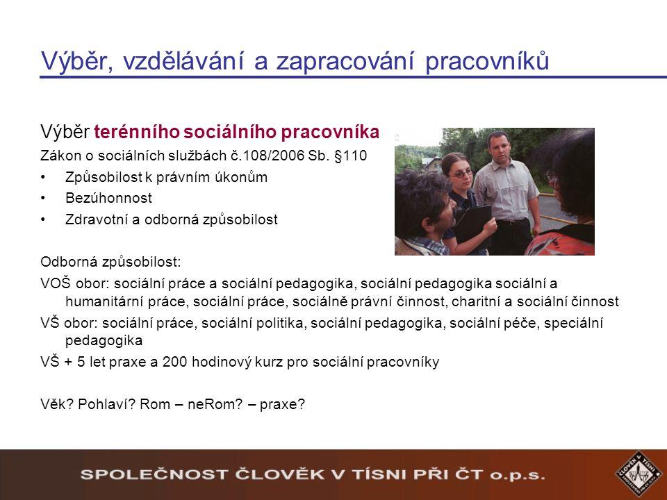 Výběr, vzdělávání a zapracování pracovníků Výběr terénního sociálního pracovníka Zákon o sociálních službách č.108/2006 Sb.