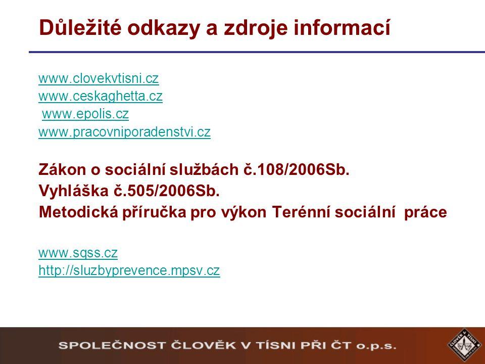 Důležité odkazy a zdroje informací www.clovekvtisni.cz www.ceskaghetta.cz www.epolis.cz www.pracovniporadenstvi.cz Zákon o sociální službách č.108/2006Sb.