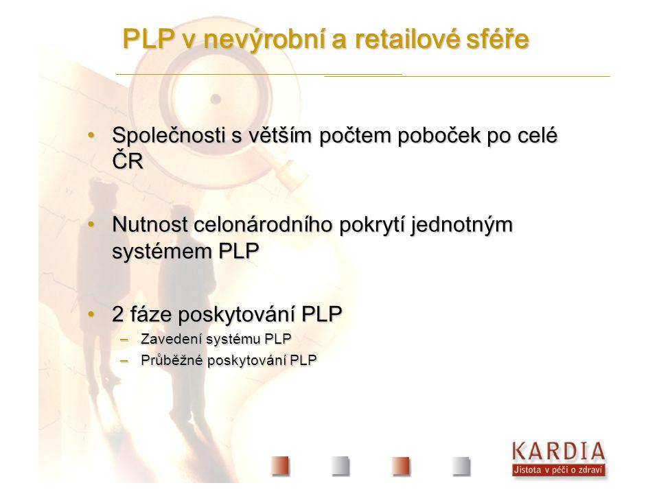 Společnosti s větším počtem poboček po celé ČRSpolečnosti s větším počtem poboček po celé ČR Nutnost celonárodního pokrytí jednotným systémem PLPNutnost celonárodního pokrytí jednotným systémem PLP 2 fáze poskytování PLP2 fáze poskytování PLP –Zavedení systému PLP –Průběžné poskytování PLP PLP v nevýrobní a retailové sféře