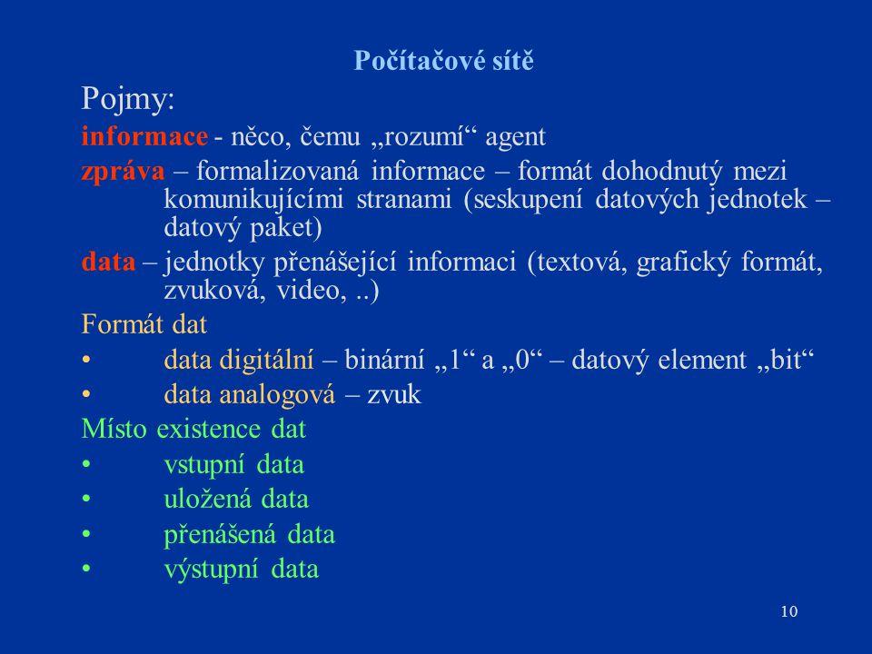 """10 Počítačové sítě Pojmy: informace - něco, čemu """"rozumí agent zpráva – formalizovaná informace – formát dohodnutý mezi komunikujícími stranami (seskupení datových jednotek – datový paket) data – jednotky přenášející informaci (textová, grafický formát, zvuková, video,..) Formát dat data digitální – binární """"1 a """"0 – datový element """"bit data analogová – zvuk Místo existence dat vstupní data uložená data přenášená data výstupní data"""