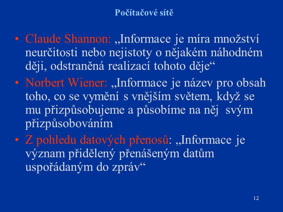 """12 Počítačové sítě Claude Shannon: """"Informace je míra množství neurčitosti nebo nejistoty o nějakém náhodném ději, odstraněná realizací tohoto děje Norbert Wiener: """"Informace je název pro obsah toho, co se vymění s vnějším světem, když se mu přizpůsobujeme a působíme na něj svým přizpůsobováním Z pohledu datových přenosů: """"Informace je význam přidělený přenášeným datům uspořádaným do zpráv"""