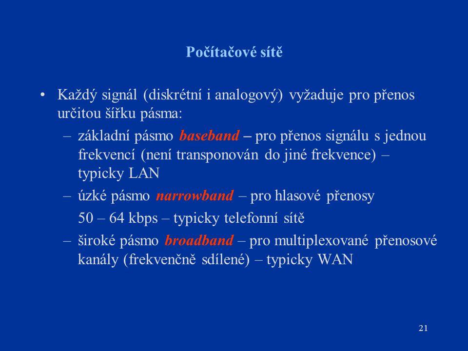 21 Počítačové sítě Každý signál (diskrétní i analogový) vyžaduje pro přenos určitou šířku pásma: –základní pásmo baseband – pro přenos signálu s jednou frekvencí (není transponován do jiné frekvence) – typicky LAN –úzké pásmo narrowband – pro hlasové přenosy 50 – 64 kbps – typicky telefonní sítě –široké pásmo broadband – pro multiplexované přenosové kanály (frekvenčně sdílené) – typicky WAN