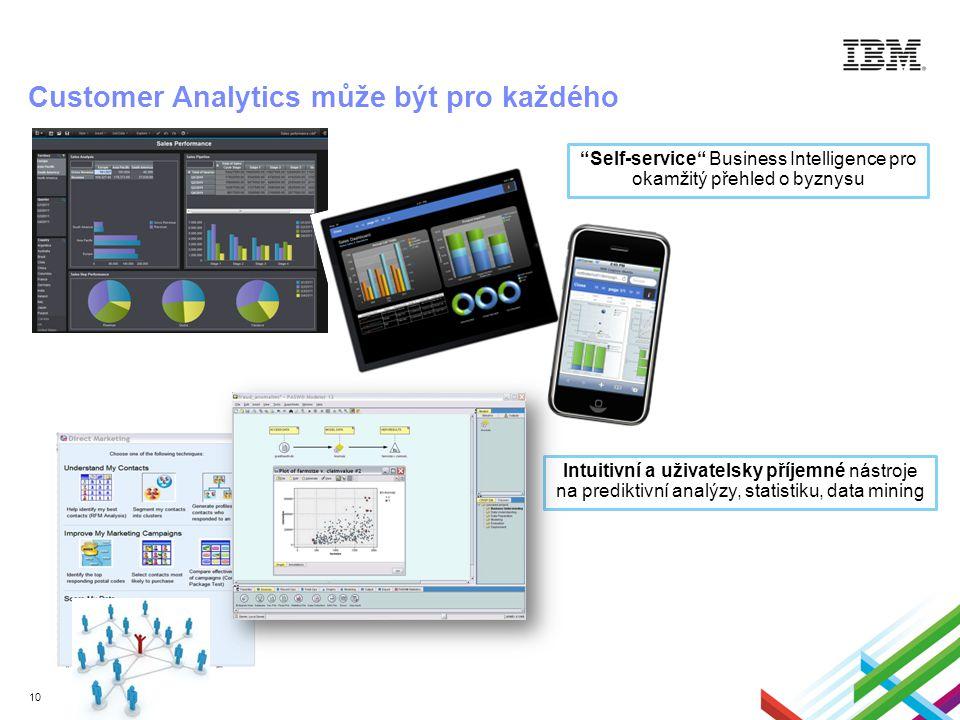 10 Self-service Business Intelligence pro okamžitý přehled o byznysu Customer Analytics může být pro každého Intuitivní a uživatelsky příjemné nástroje na prediktivní analýzy, statistiku, data mining