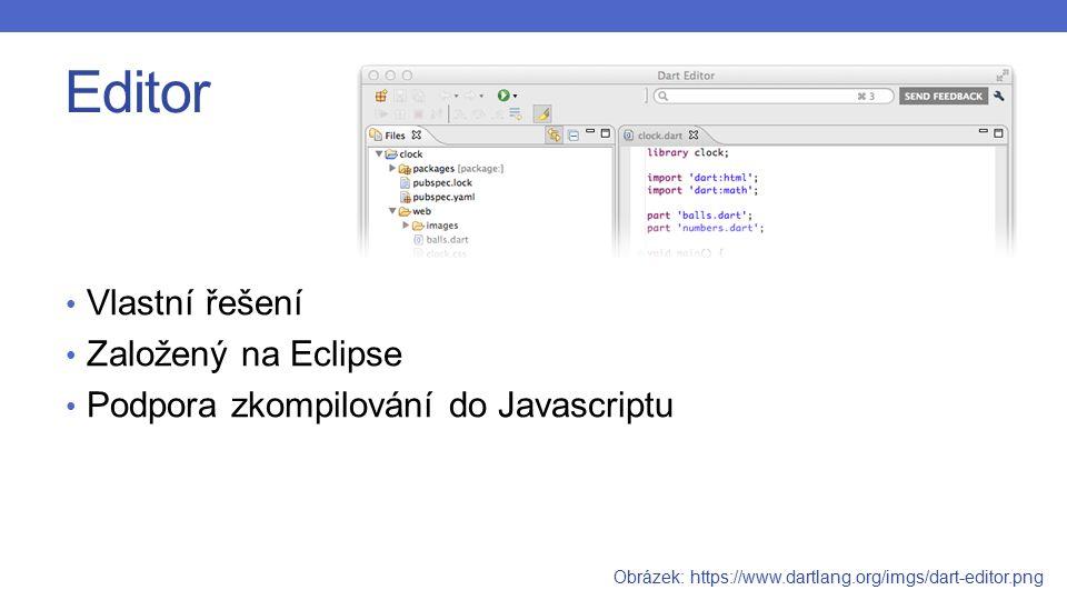 Editor Vlastní řešení Založený na Eclipse Podpora zkompilování do Javascriptu Obrázek: https://www.dartlang.org/imgs/dart-editor.png