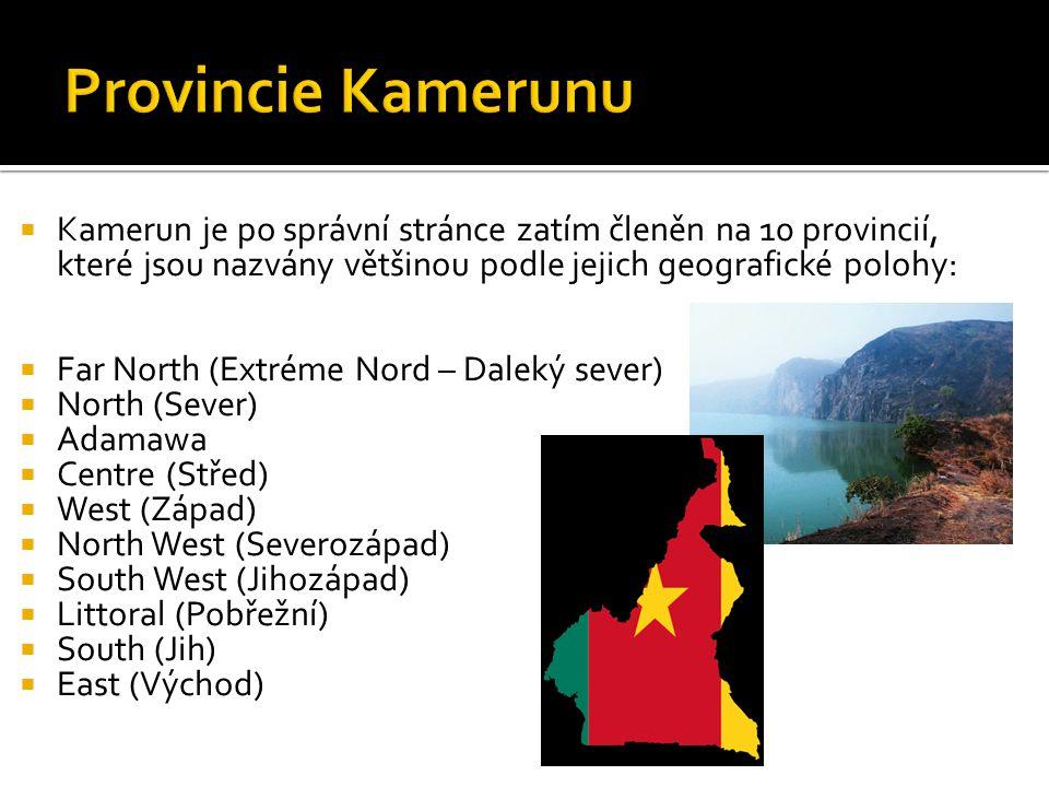  Kamerun je po správní stránce zatím členěn na 10 provincií, které jsou nazvány většinou podle jejich geografické polohy:  Far North (Extréme Nord – Daleký sever)  North (Sever)  Adamawa  Centre (Střed)  West (Západ)  North West (Severozápad)  South West (Jihozápad)  Littoral (Pobřežní)  South (Jih)  East (Východ)