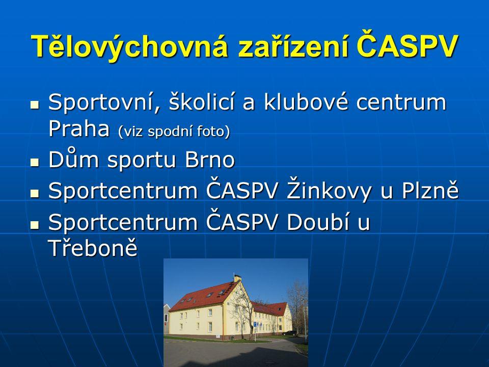 Tělovýchovná zařízení ČASPV Sportovní, školicí a klubové centrum Praha (viz spodní foto) Sportovní, školicí a klubové centrum Praha (viz spodní foto)