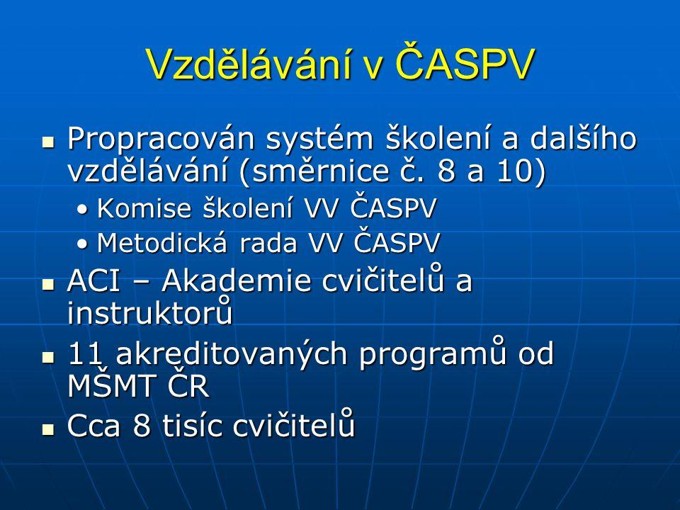 Vzdělávání v ČASPV Propracován systém školení a dalšího vzdělávání (směrnice č. 8 a 10) Propracován systém školení a dalšího vzdělávání (směrnice č. 8