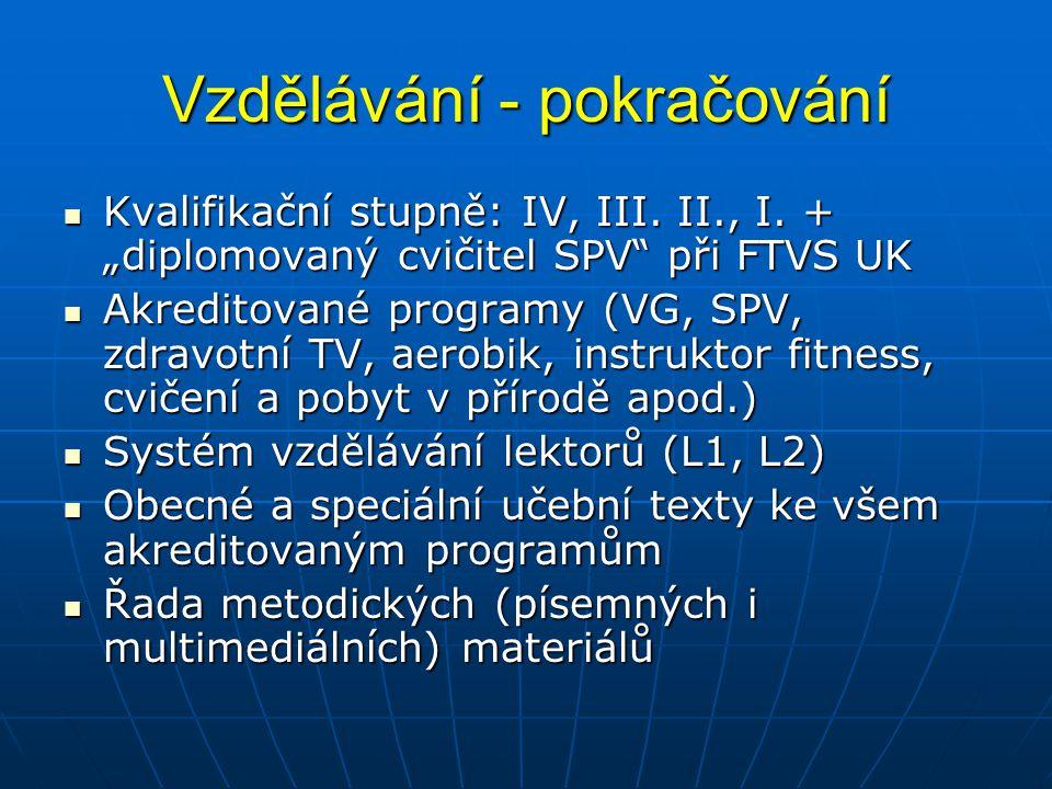 """Vzdělávání - pokračování Kvalifikační stupně: IV, III. II., I. + """"diplomovaný cvičitel SPV"""" při FTVS UK Kvalifikační stupně: IV, III. II., I. + """"diplo"""