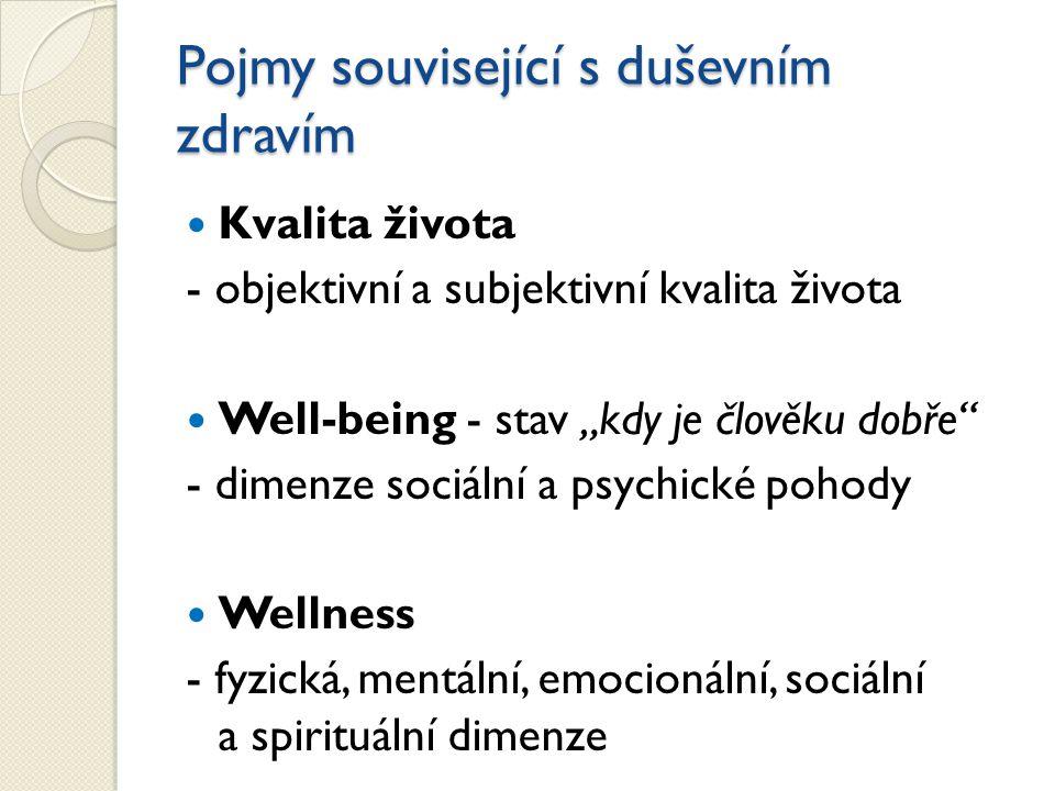 """Pojmy související s duševním zdravím Kvalita života - objektivní a subjektivní kvalita života Well-being - stav """"kdy je člověku dobře - dimenze sociální a psychické pohody Wellness - fyzická, mentální, emocionální, sociální a spirituální dimenze"""