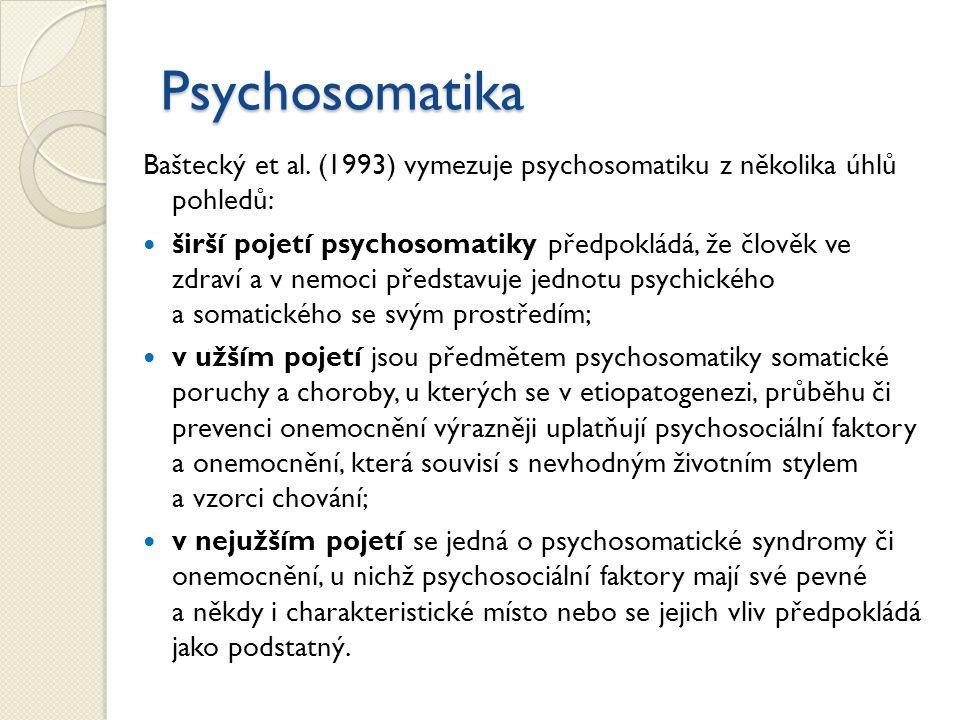 Psychosomatika Baštecký et al. (1993) vymezuje psychosomatiku z několika úhlů pohledů: širší pojetí psychosomatiky předpokládá, že člověk ve zdraví a