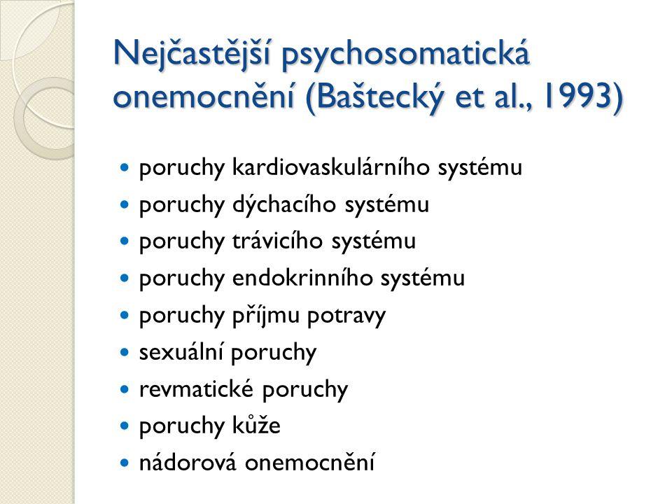 Nejčastější psychosomatická onemocnění (Baštecký et al., 1993) poruchy kardiovaskulárního systému poruchy dýchacího systému poruchy trávicího systému poruchy endokrinního systému poruchy příjmu potravy sexuální poruchy revmatické poruchy poruchy kůže nádorová onemocnění