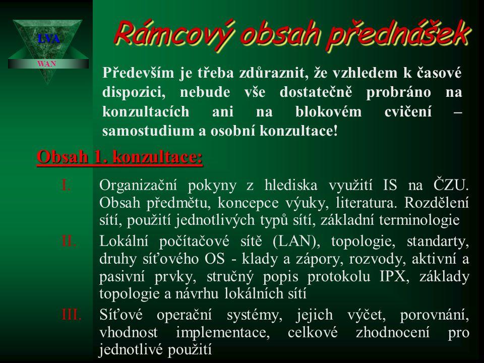 Rámcový obsah přednášek I.Organizační pokyny z hlediska využití IS na ČZU.