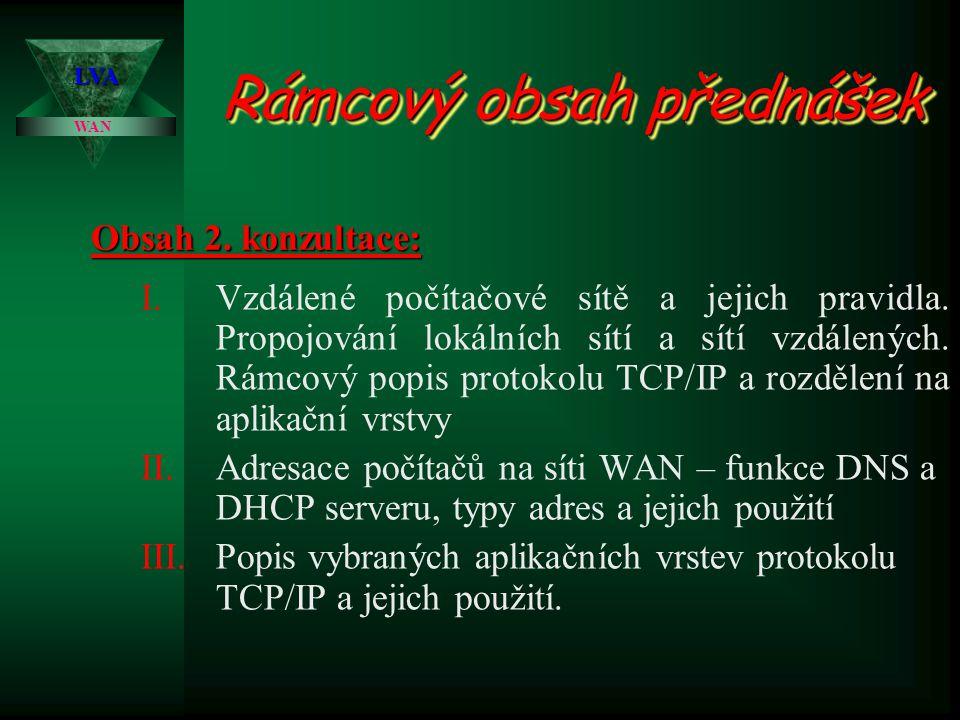 WAN LVA Rámcový obsah přednášek I.Vzdálené počítačové sítě a jejich pravidla. Propojování lokálních sítí a sítí vzdálených. Rámcový popis protokolu TC