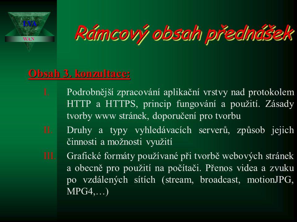 WAN LVA Rámcový obsah přednášek I.Podrobnější zpracování aplikační vrstvy nad protokolem HTTP a HTTPS, princip fungování a použití. Zásady tvorby www