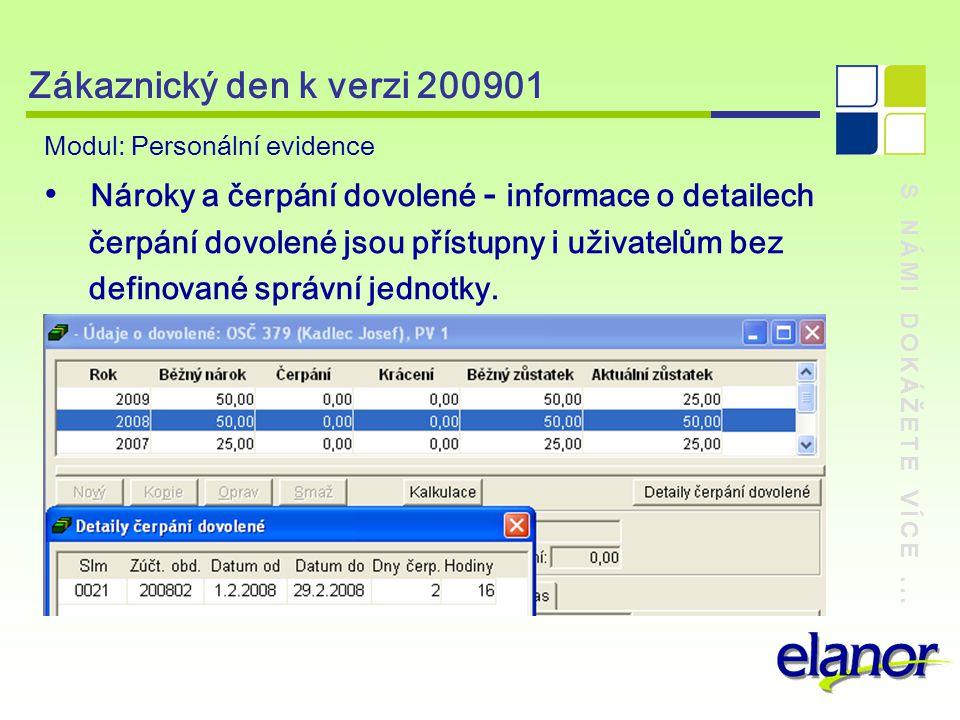 S NÁMI DOKÁŽETE VÍCE... Zákaznický den k verzi 200901 Modul: Personální evidence Nároky a čerpání dovolené - informace o detailech čerpání dovolené js