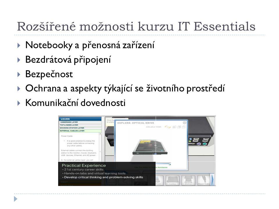 Rozšířené možnosti kurzu IT Essentials  Notebooky a přenosná zařízení  Bezdrátová připojení  Bezpečnost  Ochrana a aspekty týkající se životního prostředí  Komunikační dovednosti