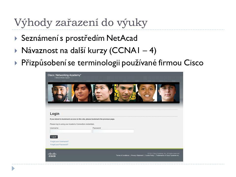 Výhody zařazení do výuky  Seznámení s prostředím NetAcad  Návaznost na další kurzy (CCNA1 – 4)  Přizpůsobení se terminologii používané firmou Cisco