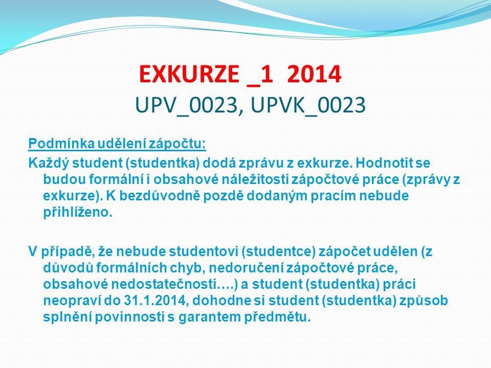 EXKURZE _1 2014 UPV_0023, UPVK_0023 Podmínka udělení zápočtu: Každý student (studentka) dodá zprávu z exkurze. Hodnotit se budou formální i obsahové n