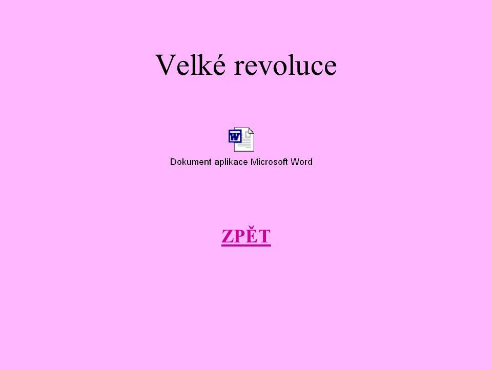 Velké revoluce ZPĚT