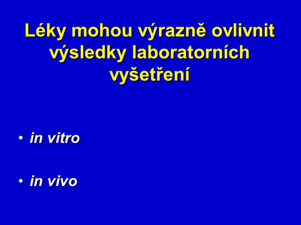 Léky mohou výrazně ovlivnit výsledky laboratorních vyšetření in vitroin vitro in vivoin vivo