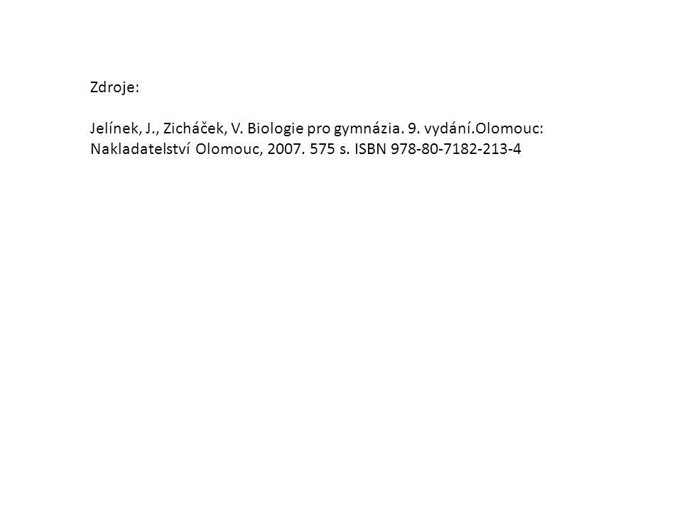 Zdroje: Jelínek, J., Zicháček, V. Biologie pro gymnázia. 9. vydání.Olomouc: Nakladatelství Olomouc, 2007. 575 s. ISBN 978-80-7182-213-4