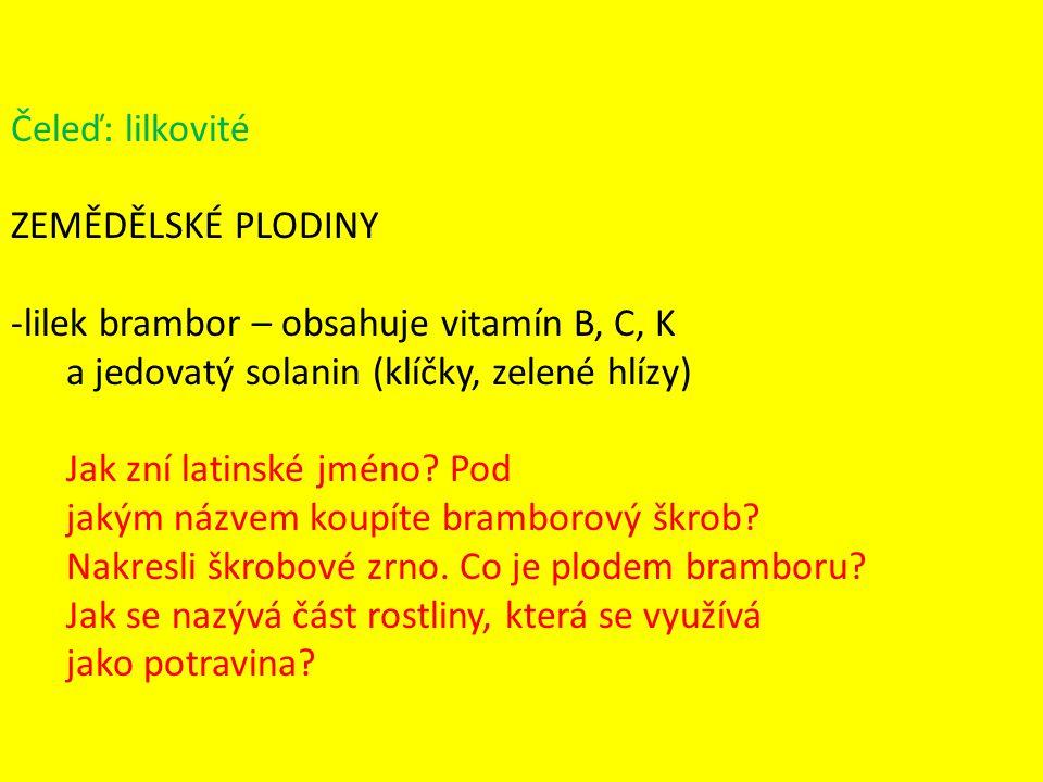 Čeleď: lilkovité ZEMĚDĚLSKÉ PLODINY -lilek brambor – obsahuje vitamín B, C, K a jedovatý solanin (klíčky, zelené hlízy) Jak zní latinské jméno? Pod ja